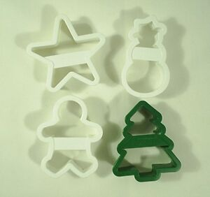Details About Christmas Cookie Cutters Plastic Snowman Tree Gingerbread Man Star Lot Of 4