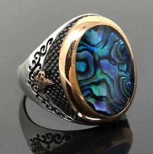 925-Sterling-Silver-Blue-Ocean-Pearl-Sultan-Signature-Men-039-s-Ring-K63I