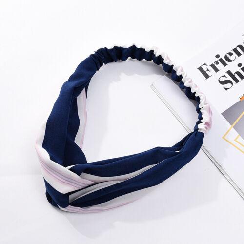Ladies Stripe Twist Knot Headband Elastic Wrap Turban Hair Band Boho Sports UK