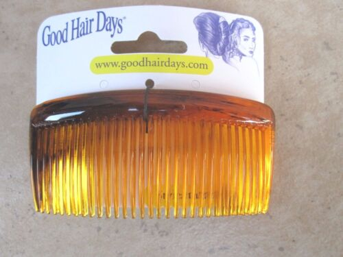 """Set of 2 Amber Shell Curved Back Hair Comb 3 3//8/""""  USA by Good Hair Days 40022"""