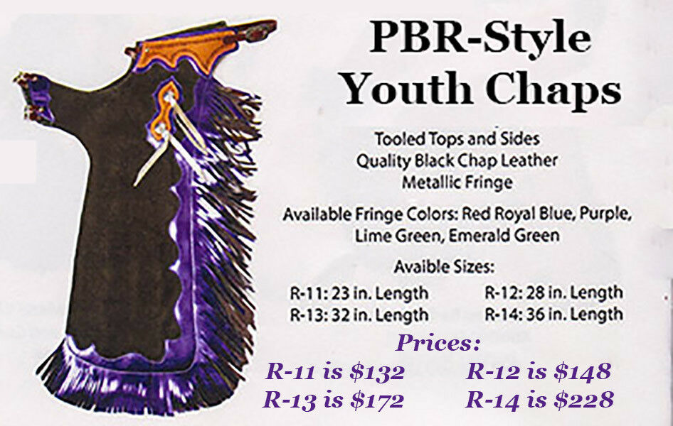 PBR-style Youth Rodeo CHAPS - PBR PRCA Little Britches Junior Rodeo