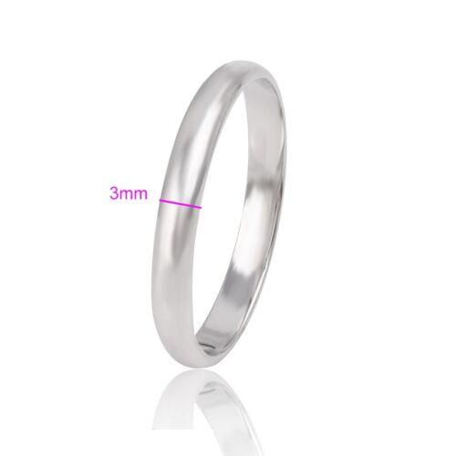 """9ct 9K White /""""Gold Filled/"""" Men Women Plain Wedding Band Ring Various Size.W=3mm"""