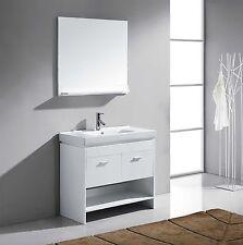 "Glora 36"" Single Bathroom Vanity Cabinet WHITE/Ceramic Top/Square Sink/Mirror"