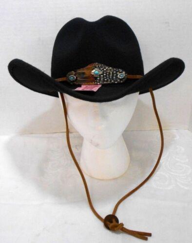 Wool Felt Cowboy Western Hat Black Water Repellent Crushable #9975 Choose Size