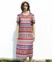 Vintage 70s Stephen James Stripe Tile Print Pleated Midi Dress Boho Hippy 12