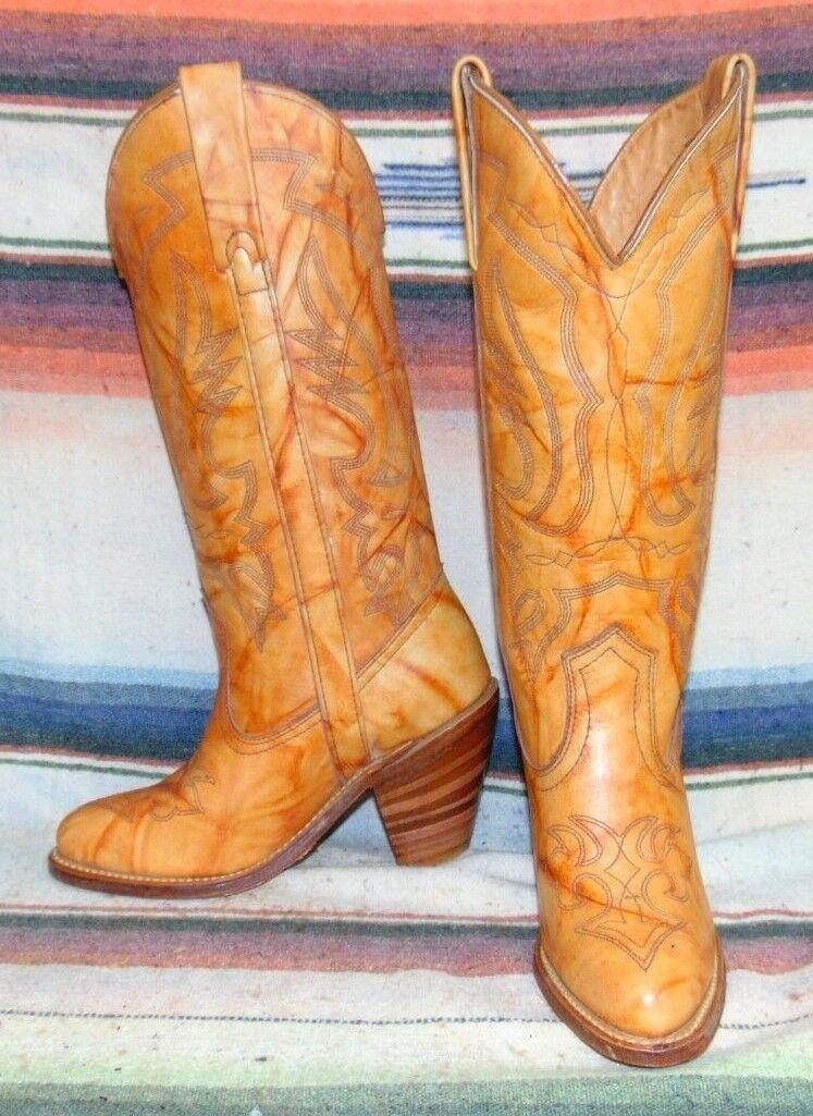 Damenschuhe Vintage Miss Capezio Marbled Braun Cowboy Stiefel 5.5 M New In Box