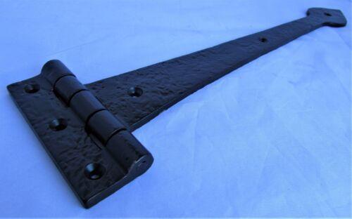 """15/"""" Noir Antique Lourd Porte En Fonte Porte Tee Charnières Spear Head Leaf Paire D19"""