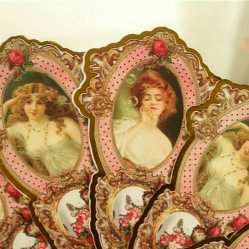 Lady Floral Folding Paper Hand Fan Lolita Victorian Retro Double Side Gift New