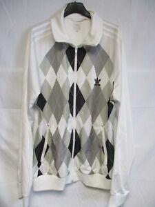 Détails sur Veste ADIDAS rétro vintage blanc design losange TREFOIL sport jacket jacke XL
