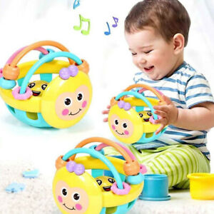Cartoon-Bee-Soft-Colorful-Baby-Rattle-Ball-Hand-Bell-Educational-Teething-Toy