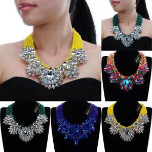 Fashion-Jewelry-Chain-Resin-Acrylic-Crystal-Statement-Chunky-Choker-Bib-Necklace