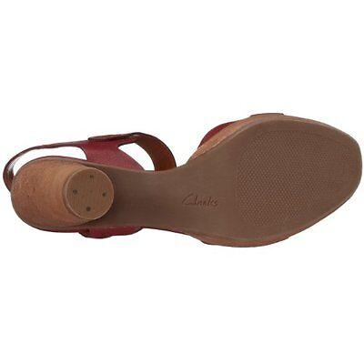 Clarks Mujer Sedge castaño rojizo Rojo Cuero Verano Tacón Zapato GB 6