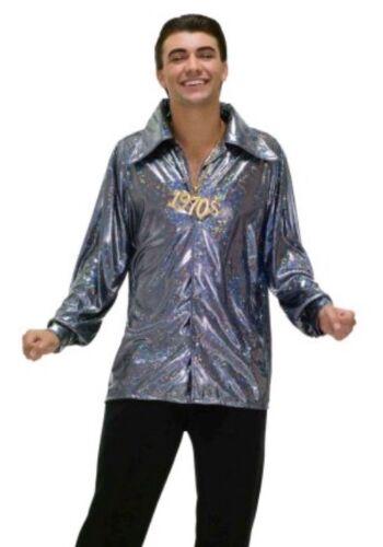 Mens Disco Fever 70/'s 1970/'s Seventies Shirt Fancy Dress Costume Plus Size
