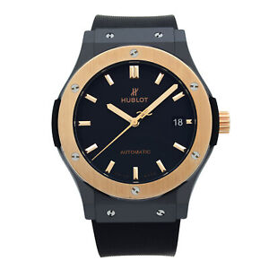 Hublot Classic Fusion 18K Rose Gold Ceramic Black Dial Mens Watch 511.C0.1181.RX