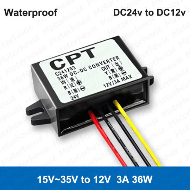 Waterproof DC 24V to 12V 3A 36W Converter Buck Step Down Module Car Power Supply