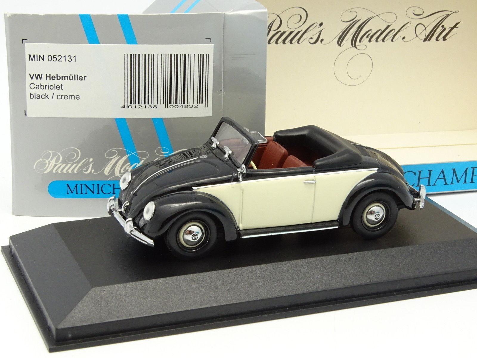 Minichamps 1 43 - VW Coccinelle  Hebmüller Cabriolet Noire Crème