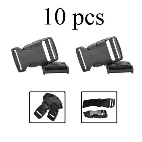 25mm X 67mm negro cierre de hebilla ajustable de liberación lateral Mascota Collar De Equipaje Correa