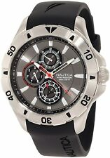 Nautica Men's N14609G NST 06 Gray Red Dial Black Resin Strap Sport Multi Watch