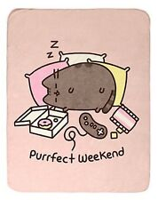 "Pusheen Facebook Cat Purrfect Weekend Super Plush Throw Blanket 45""x60"""