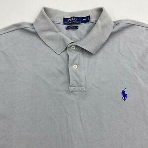 Polo-Ralph-Lauren-Polo-Shirt-Men-039-s-2XL-XXL-Short-Sleeve-Gray-Custom-Fit-Cotton