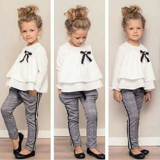 Kids Children Baby Girls Outfits Ruffle T Shirt Tops+Checked Pants Clothes Set