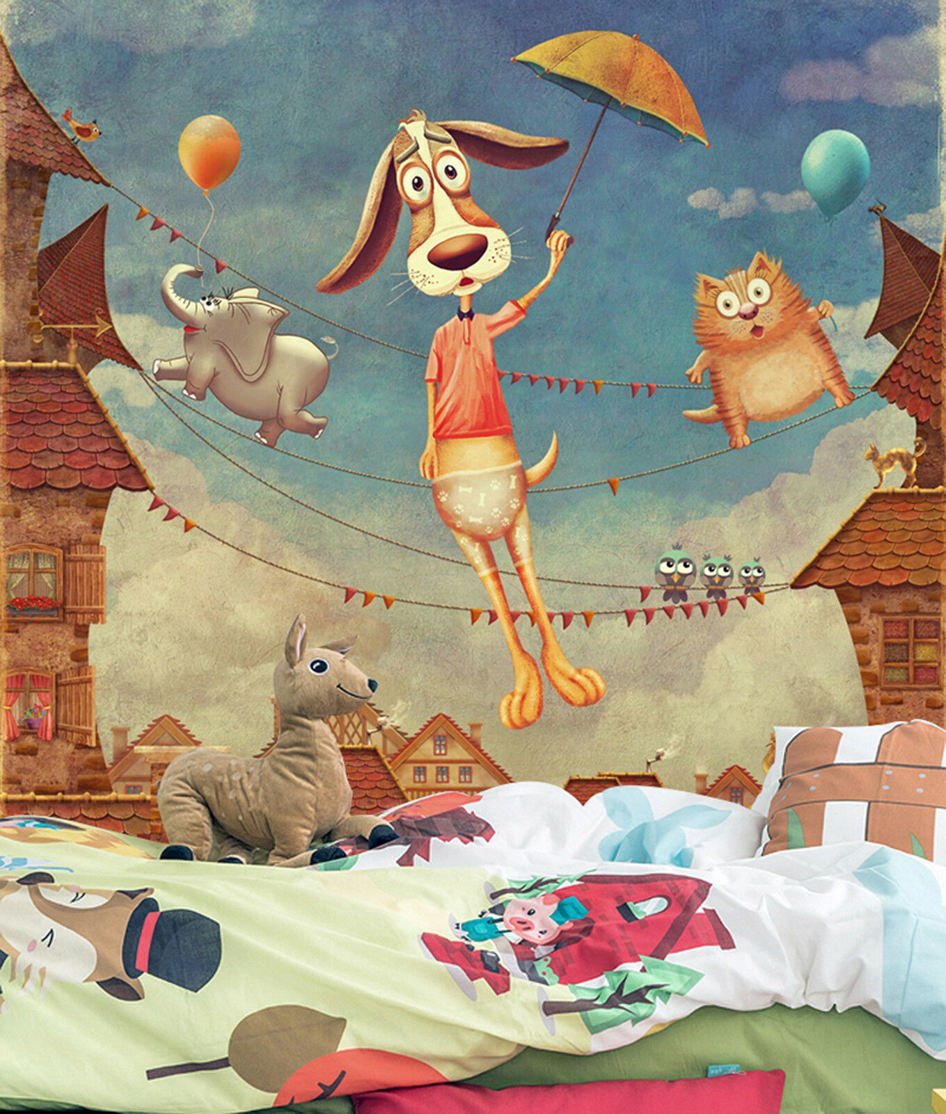 3D Karikatur Tier Kind 8993 Tapete Wandgemälde Tapeten Bild Familie DE Lemon | Erschwinglich  | Lebensecht  | Moderne Technologie