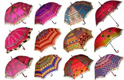 Wedding Lot of 20 Pcs Bohemian Parasols Indian Hippie Umbrellas Decor Wholesale