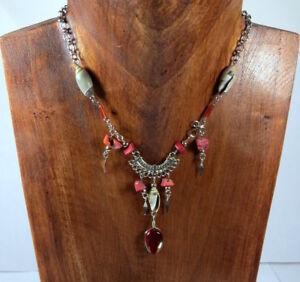 Halskette-Glasstein-Handarbeit-aus-Peru-Muschel-Collier-Bohemian-Modeschmuck-Neu