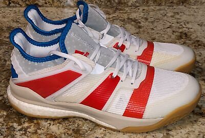 ADIDAS Stabil X White Red Royal Blue Volleyball Handball Court Shoes NEW Mens 10