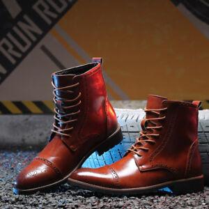 Hommes-Derbies-en-cuir-Chevalier-MARTIN-boots-high-top-chaud-Richelieu-a-Bout-D-039-Aile-Chaussures