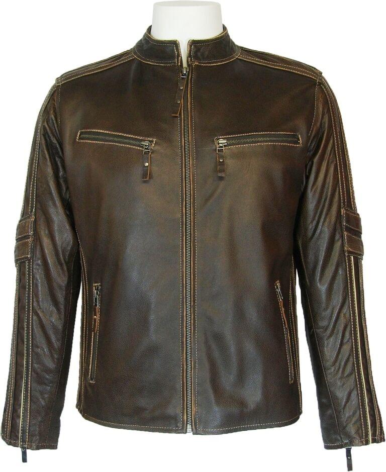 UNICORN pour homme classique en cuir véritable veste de style motard brown  S4