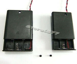 2pcs Battery Box Case Slot with Switch for AA AAA DC 4.5V Battery