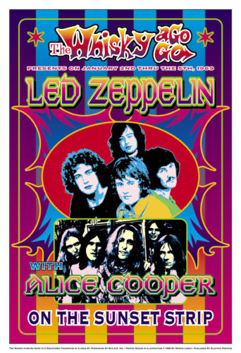 1960/'s Psychedelic Led Zeppelin at the Whisky A Go Go Concert Poster 1969