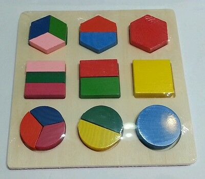 Wooden fraction shape puzzle toy for Montessori educational Mathematics learning