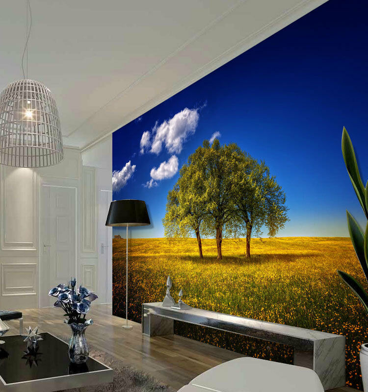 Lonely Tree Flower Field  Full Wall Mural Photo Wallpaper Print Home 3D Decal