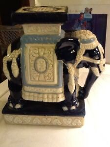 Image Is Loading Charming Blue And White Small Ceramic Elephant Plant