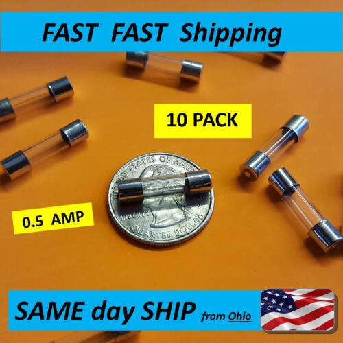 -- 1//2 AMP small glass fuse 250v MAX -- 10 PACK 0.5A -