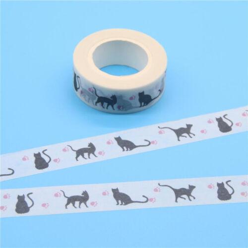 New 2pcs Kawaii Black Cat Claw Patterned Japanese Masking Tape Cute Stationery