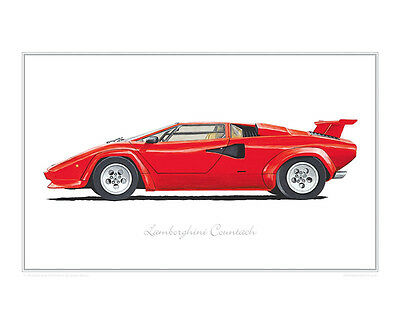 Limited edition Retro Countach poster