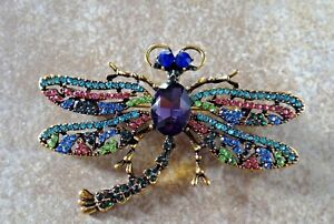 RHINESTONE-DRAGONFLY-PIN-BROOCH-CONVERTS-TO-PENDANT-Organza-pouch-CATS-RESCUE