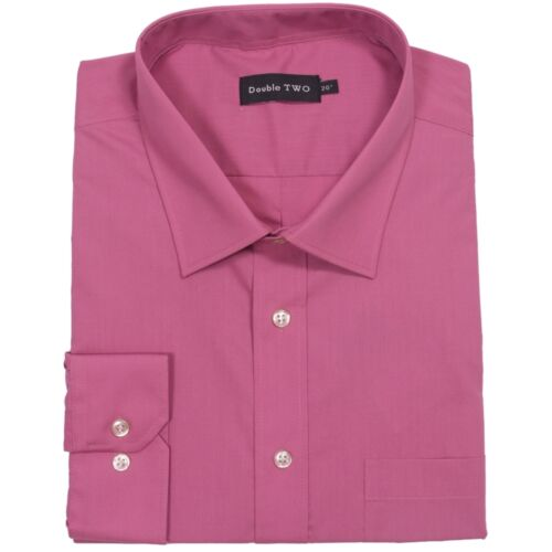 Double Two Long Sleeve Non Iron Shirt Pink Collar 19