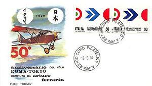 FDC-Roma-Italia-Repubblica-1970-Volo-Roma-Tokyo-NVG-annullo-Milano