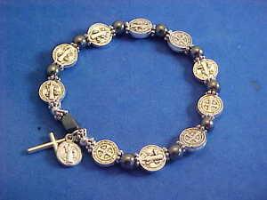 Stretch-Saint-St-Benedict-Rosary-Bracelet-Protection-Silver-Tone-Metal-Hematite