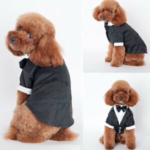 Pet-Dog-Puppy-Wedding-Tuxedo-Apparel-Clothes-Suit-Bow-Tie-Stylish-Shirt-Coat