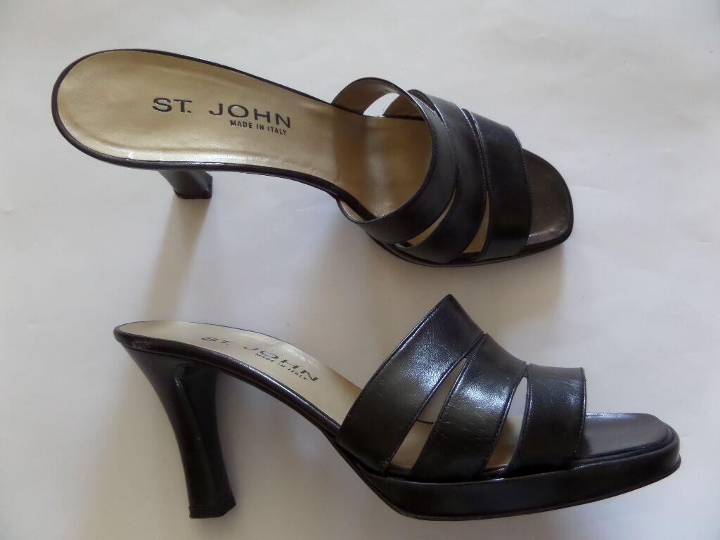 St.John Women's Sandals Slide Size-9.0 B Black Made in