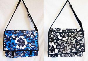 "Sonderabschnitt Hawaiian Print Messenger/school Bag Canvas, Fully Lined Adjustable Strap 14"" New Ausgezeichnet Im Kisseneffekt"