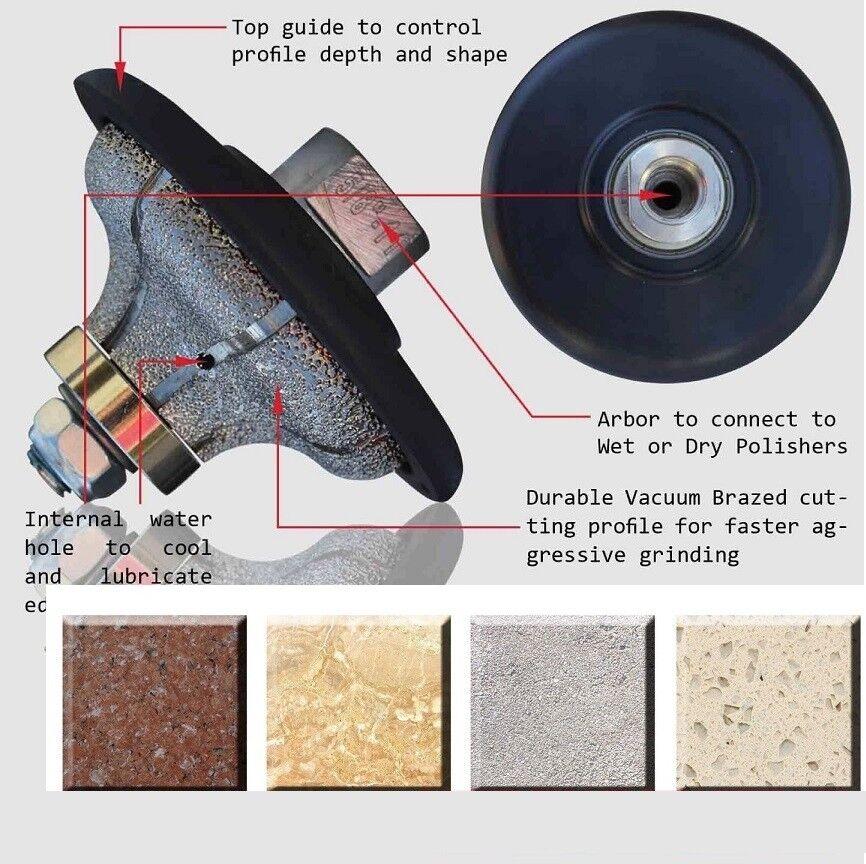 1-1 4  F30 F Ogee-Bullnose Diamond Hand Profiler Wheel Router Bit Granite Edge