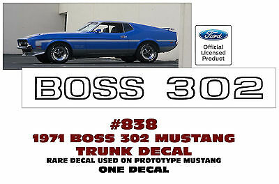 838 1971 FORD MUSTANG - BOSS 302 - TRUNK LID NAME DECAL - (RARE)