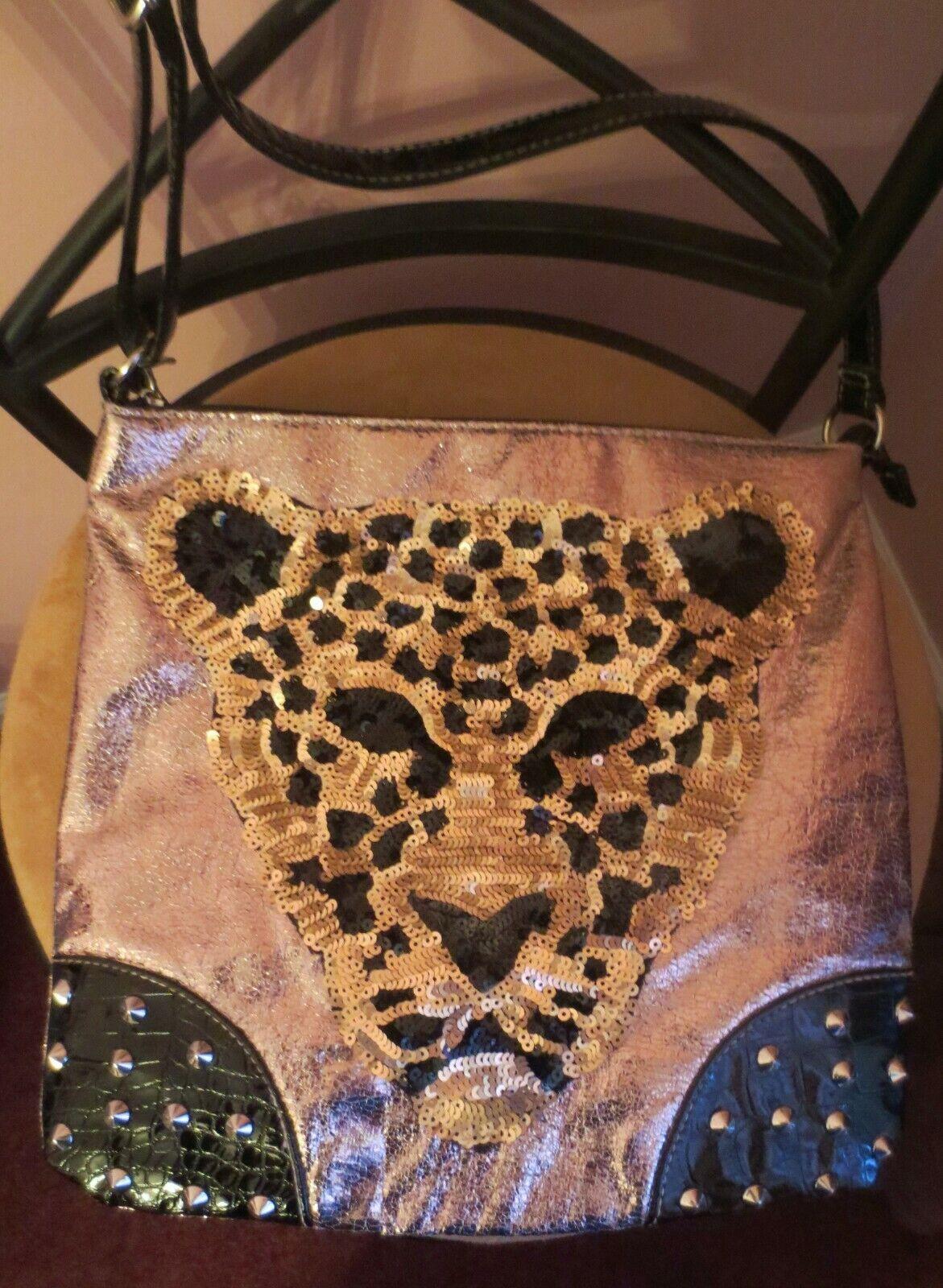 NWOT Black n Tan Handbag LEOPARD SEQUINS FACE STUDS Adjust Shoulder Strap Purse