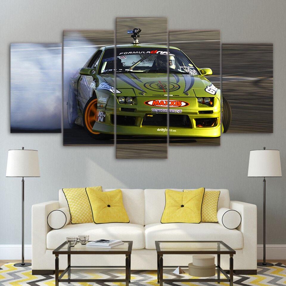 Nissan Formula Drift Japan Car Maxxis Tire Poster 5 Panel Canvas Print Wall Art